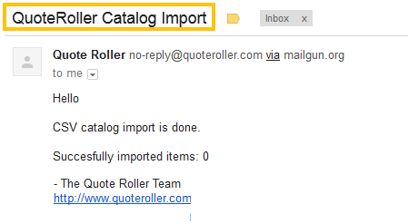 Catalog - Services - Import - Import Email