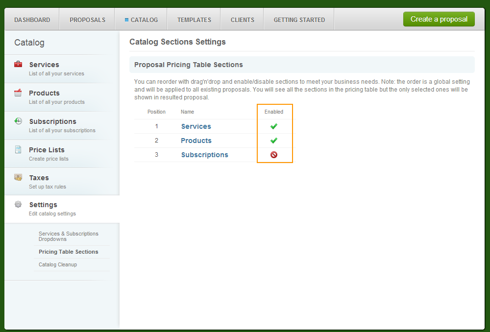 Catalog - Settings - Pricing Table Sections - Enable