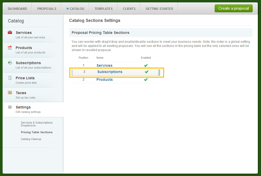 Catalog - Settings - Pricing Table Sections - Rearrange