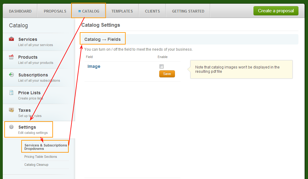 Catalog - Settings - Servicesandsubscriptions - Catalog Fields