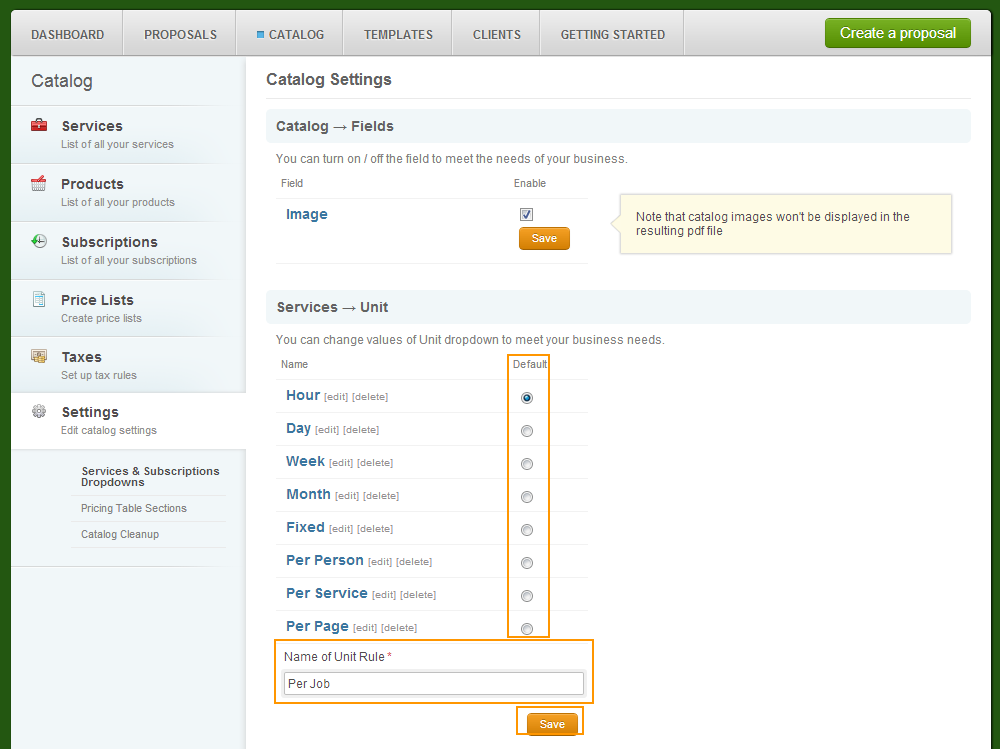 Catalog - Settings - Servicesandsubscriptions - Service Units - Add