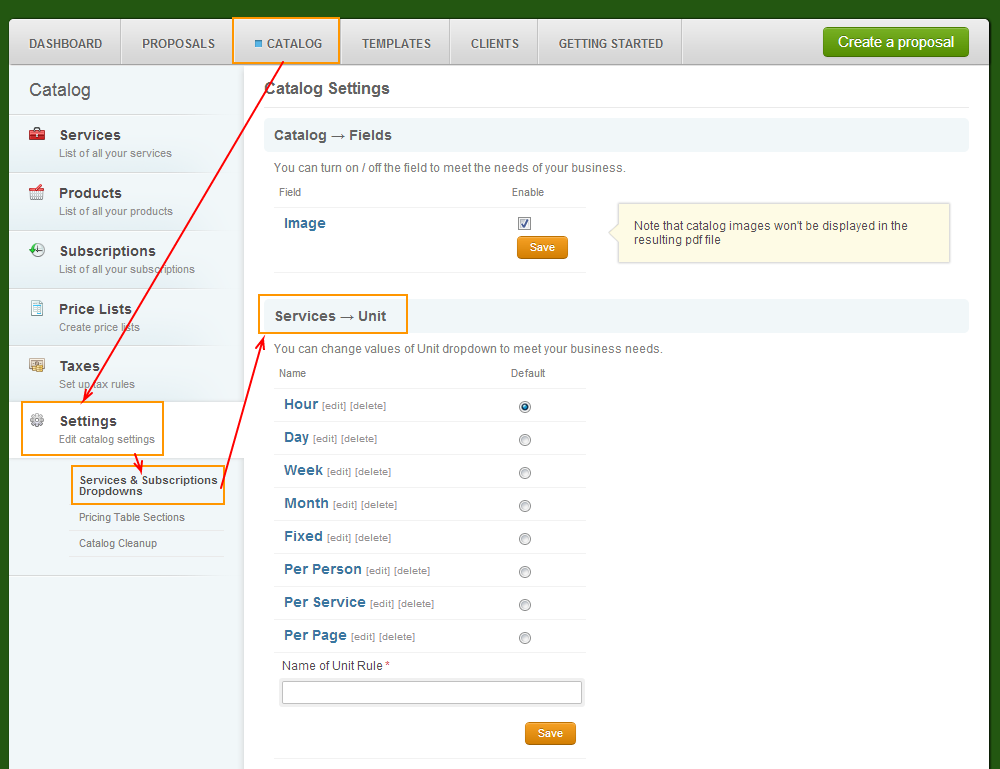 Catalog - Settings - Servicesandsubscriptions - Service Units