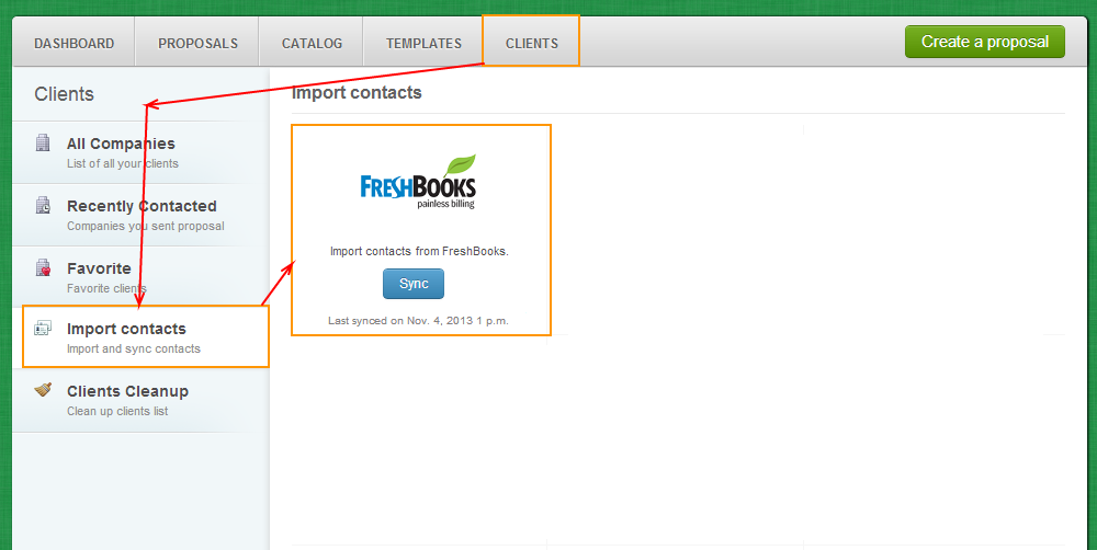 Clients - Import Contacts - Freshbooks