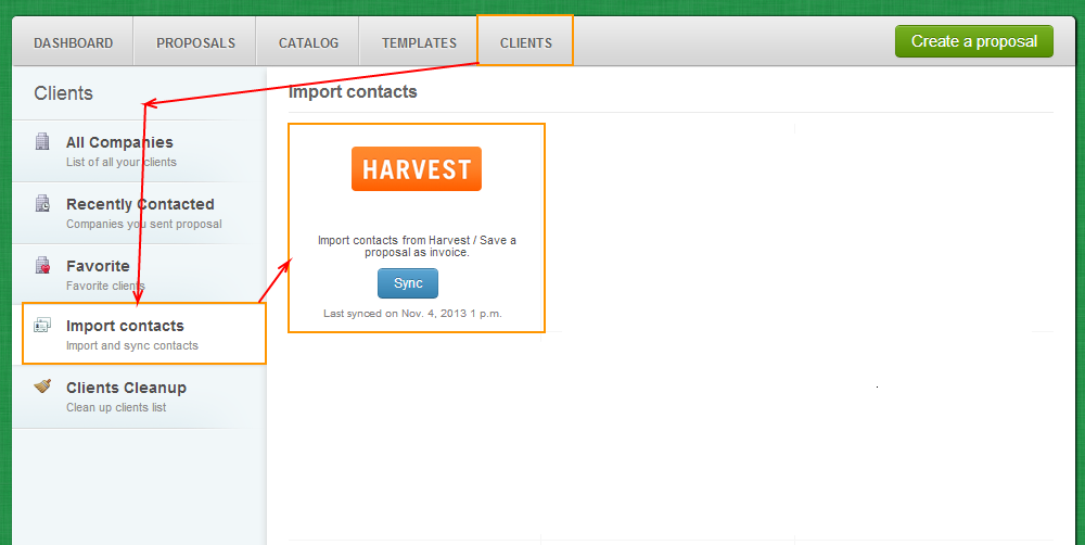 Clients - Import Contacts - Harvest
