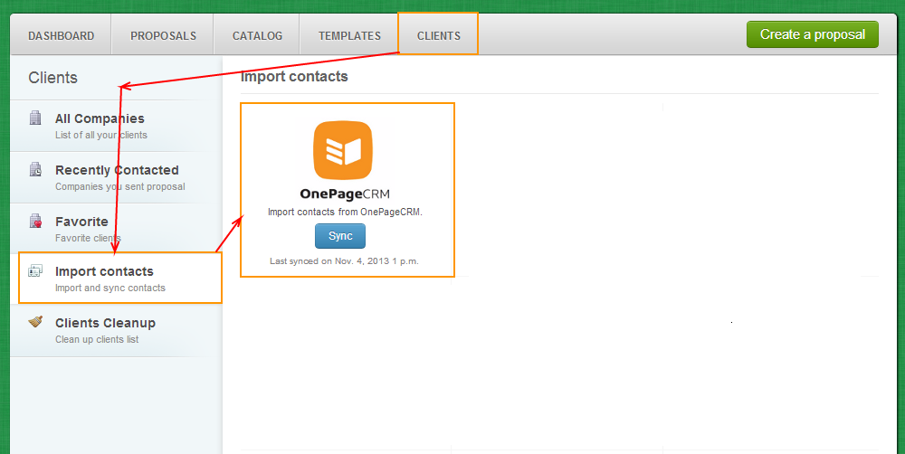Clients - Import Contacts - OnePage