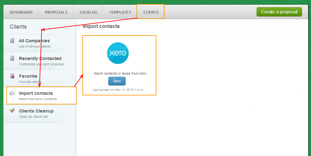 Clients - Import Contacts - Xero
