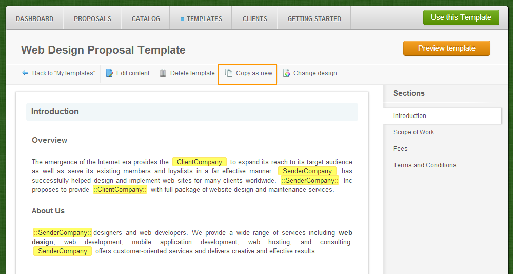 Templates - My Templates - Template Name - Copy As New