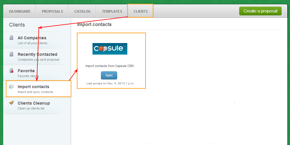 Clients - Import Contacts - Capsule