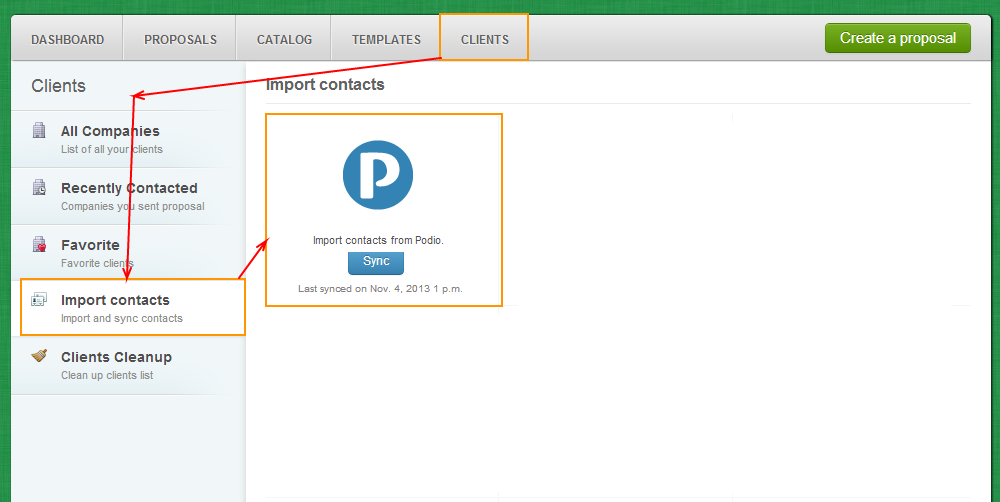 Clients - Import Contacts - Podio