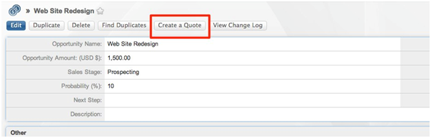 SugarCRM - Add on - Create a Quote