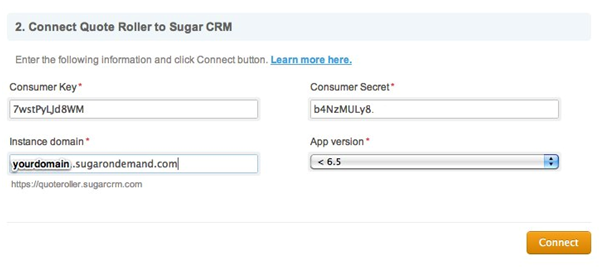 SugarCRM - Connect - OAuth Keys - Connect to QR