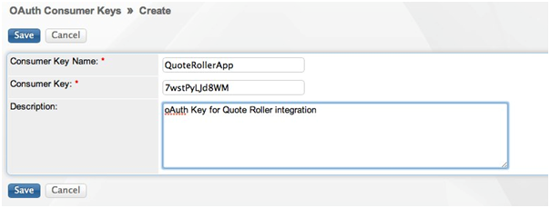 SugarCRM - Connect - OAuth Keys - Create