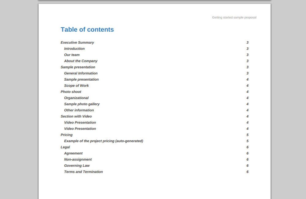 Step 4 - Table of Contents - Example