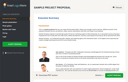 Quote Roller - Sample Proposal