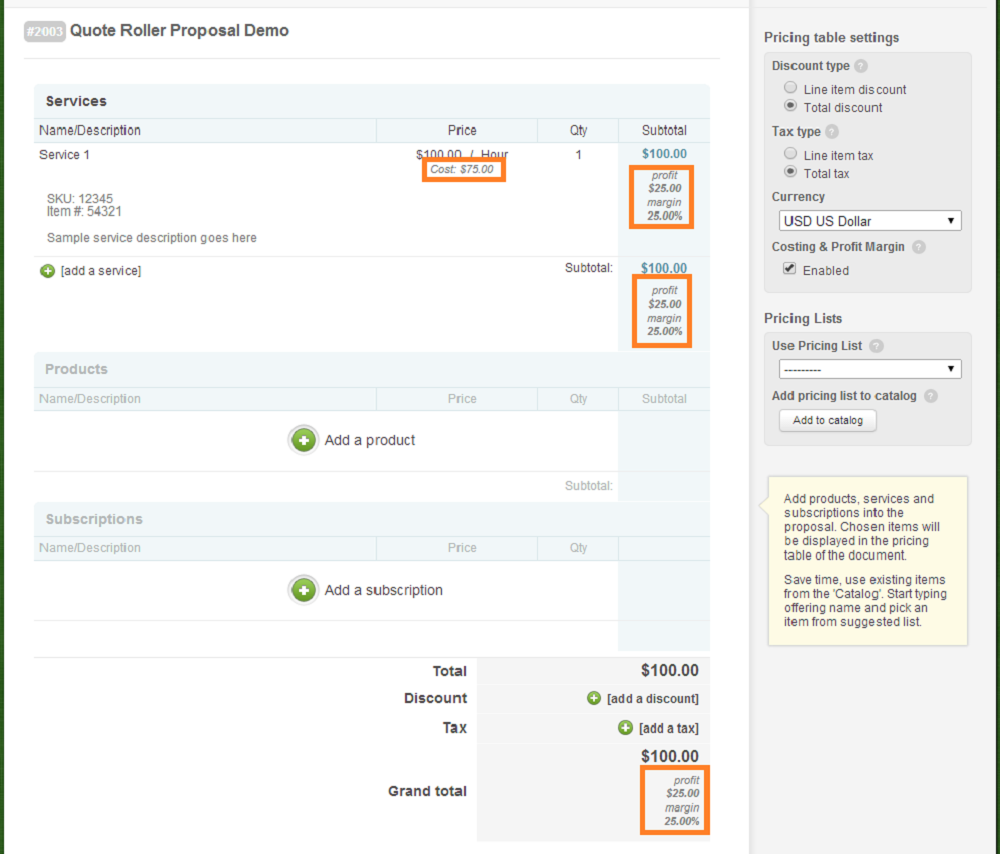 Proposals - Step 2 - Costing Margin - View
